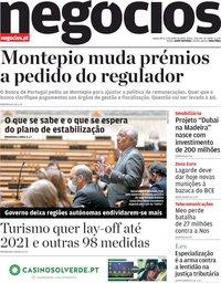 capa Jornal de Negócios de 4 junho 2020