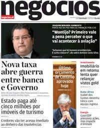capa Jornal de Negócios de 9 junho 2020