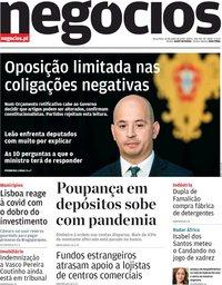 capa Jornal de Negócios de 16 junho 2020