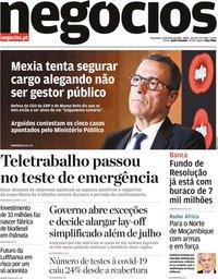 capa Jornal de Negócios de 23 junho 2020