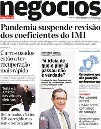 capa Jornal de Negócios de 29 junho 2020