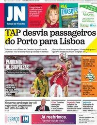 capa Jornal de Notícias de 5 junho 2020