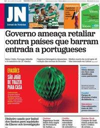 capa Jornal de Notícias de 19 junho 2020