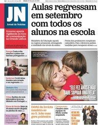 capa Jornal de Notícias de 20 junho 2020