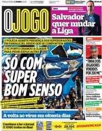 capa Jornal O Jogo de 2 junho 2020