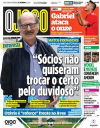 capa Jornal O Jogo de 15 junho 2020