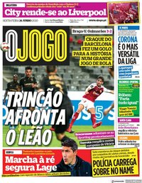 capa Jornal O Jogo de 26 junho 2020