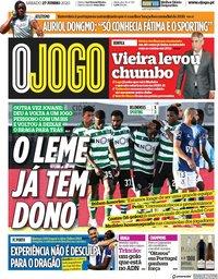 capa Jornal O Jogo de 27 junho 2020