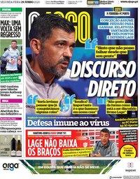 capa Jornal O Jogo de 29 junho 2020