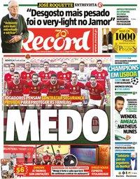 capa Jornal Record de 7 junho 2020
