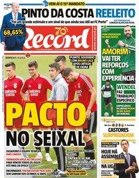capa Jornal Record de 8 junho 2020