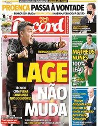 capa Jornal Record de 9 junho 2020