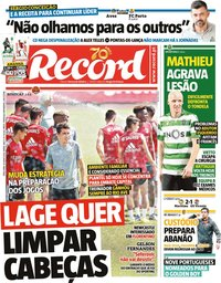 capa Jornal Record de 16 junho 2020