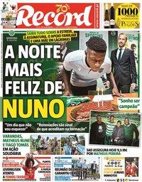 capa Jornal Record de 20 junho 2020