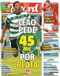 capa Jornal Record de 22 junho 2020