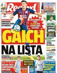 capa Jornal Record de 23 junho 2020