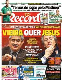 capa Jornal Record de 26 junho 2020