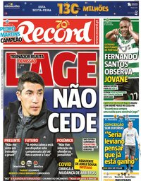 capa Jornal Record de 29 junho 2020