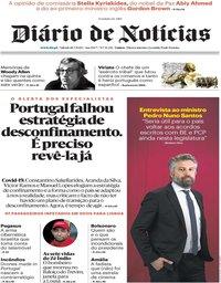 capa Diário de Notícias de 18 julho 2020