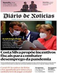 capa Diário de Notícias de 21 julho 2020