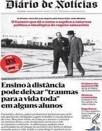 capa Diário de Notícias de 27 julho 2020