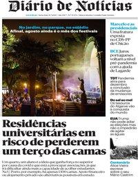 capa Diário de Notícias de 31 julho 2020