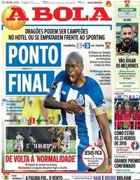 capa Jornal A Bola de 10 julho 2020