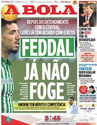 capa Jornal A Bola de 12 julho 2020