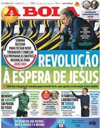 capa Jornal A Bola de 13 julho 2020