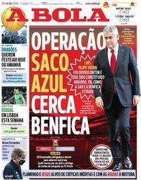 capa Jornal A Bola de 14 julho 2020