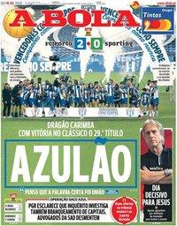 capa Jornal A Bola de 16 julho 2020