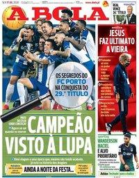 capa Jornal A Bola de 17 julho 2020