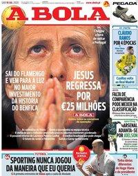capa Jornal A Bola de 18 julho 2020