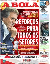 capa Jornal A Bola de 19 julho 2020