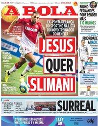 capa Jornal A Bola de 20 julho 2020