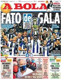 capa Jornal A Bola de 21 julho 2020