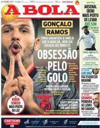 capa Jornal A Bola de 23 julho 2020