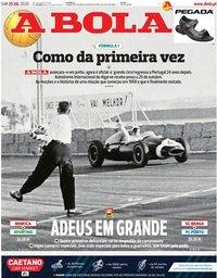 capa Jornal A Bola de 25 julho 2020