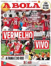 capa Jornal A Bola de 26 julho 2020