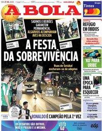 capa Jornal A Bola de 27 julho 2020