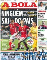 capa Jornal A Bola de 28 julho 2020