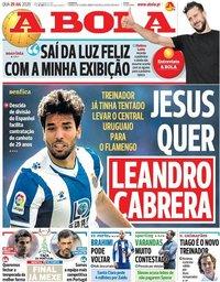 capa Jornal A Bola de 29 julho 2020