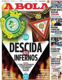 capa Jornal A Bola de 30 julho 2020