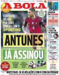 capa Jornal A Bola de 31 julho 2020
