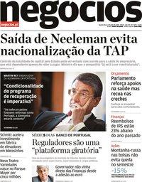 capa Jornal de Negócios de 1 julho 2020