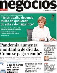 capa Jornal de Negócios de 13 julho 2020