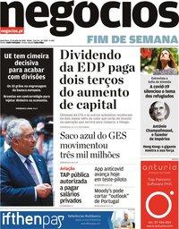 capa Jornal de Negócios de 17 julho 2020