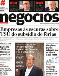 capa Jornal de Negócios de 27 julho 2020