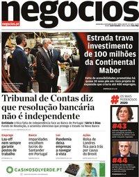 capa Jornal de Negócios de 30 julho 2020