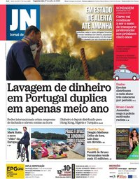 capa Jornal de Notícias de 27 julho 2020